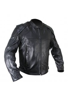 Naked Cowhide Black Leather Motorcycle Jacket with Level 3 Armor