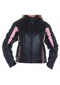 Pink and Black Cowhide Racer Style Leather Jacket