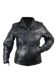 Ladies Premium Cowhide Leather Cruiser Motorcycle Jacket with Level-3 Advanced Armor