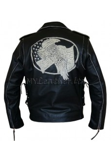 Men's Black Leather USA Eagle Embossed Motorcycle Jacket