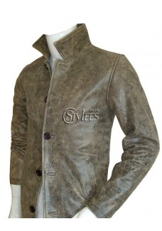 Distressed Supernatural Stone Grey Leather Coat