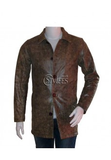 Distressed Supernatural Brown/Black Leather Coat
