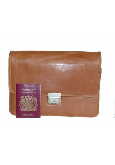 Single Clasp Tan Leather Document Bag