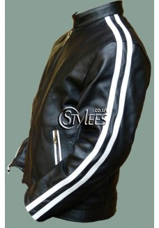 Vertigo - White Striped Leather Jacket