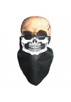 White Skull Neck Warmer (Leather)