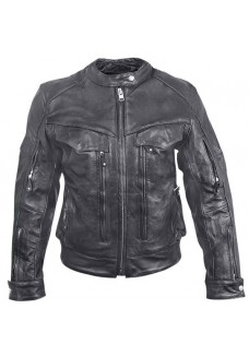 Women's Multi-Pocket Armored Leather Motorcycle Jacket