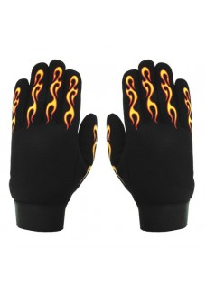 Yellow & Red Flame Mechanics Gloves