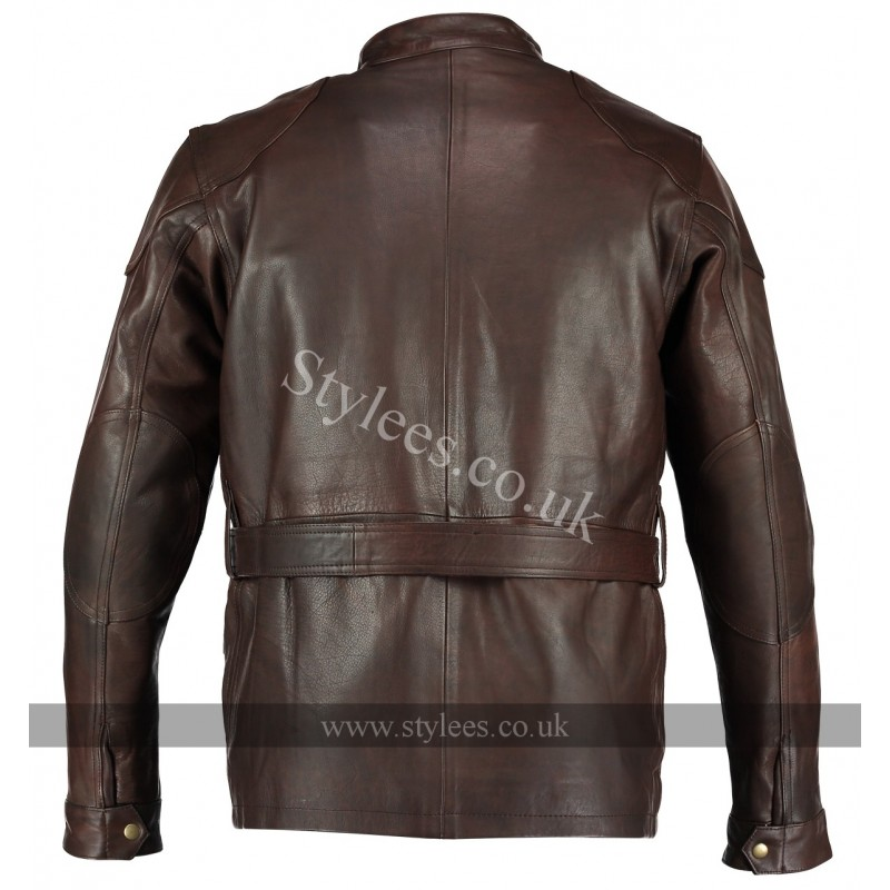 Vintage Brown Benjamin Button Long Biker Leather Jacket