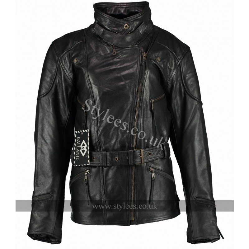 3/4 Vintage Black Demi Womens Long Biker Leather Jacket