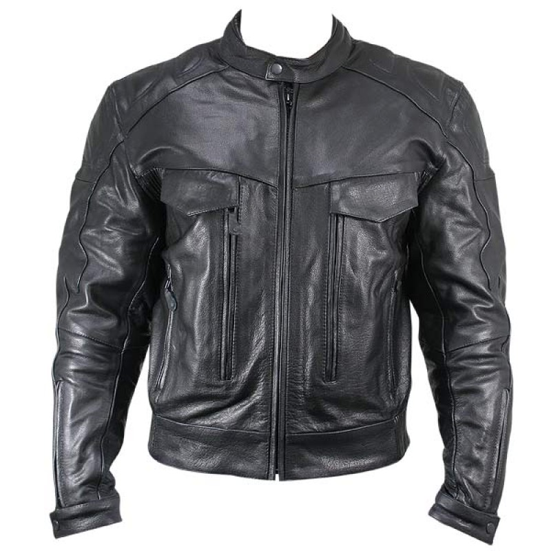 Cowhide Leather Motorcycle Jacket 01