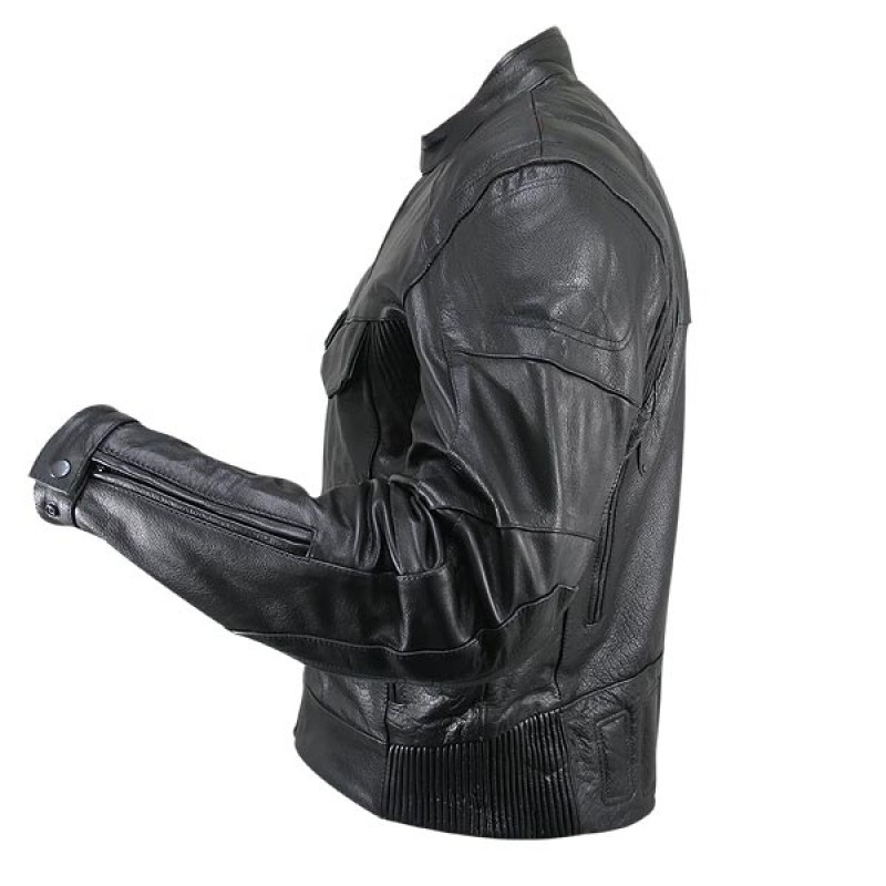 Cowhide Leather Motorcycle Jacket 04