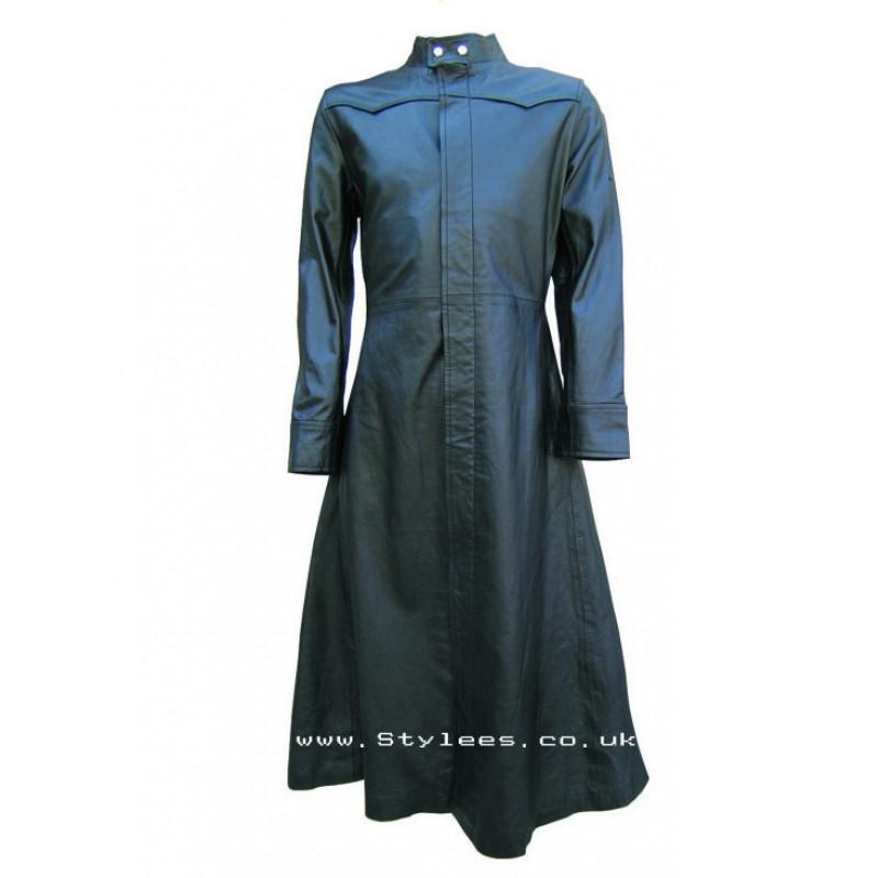 Neo Matrix Black Gothic Style Men's Leather Coat