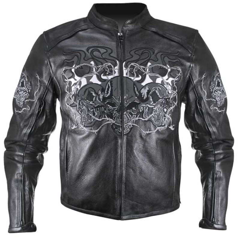 Flaming Skulls Motorcycle Jacket