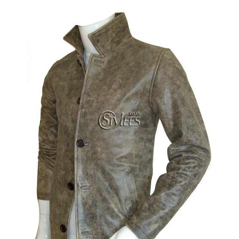Stone Grey Leather Coat