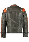 Men's Distressed Orange Striped Motorcycle Leather Jacket